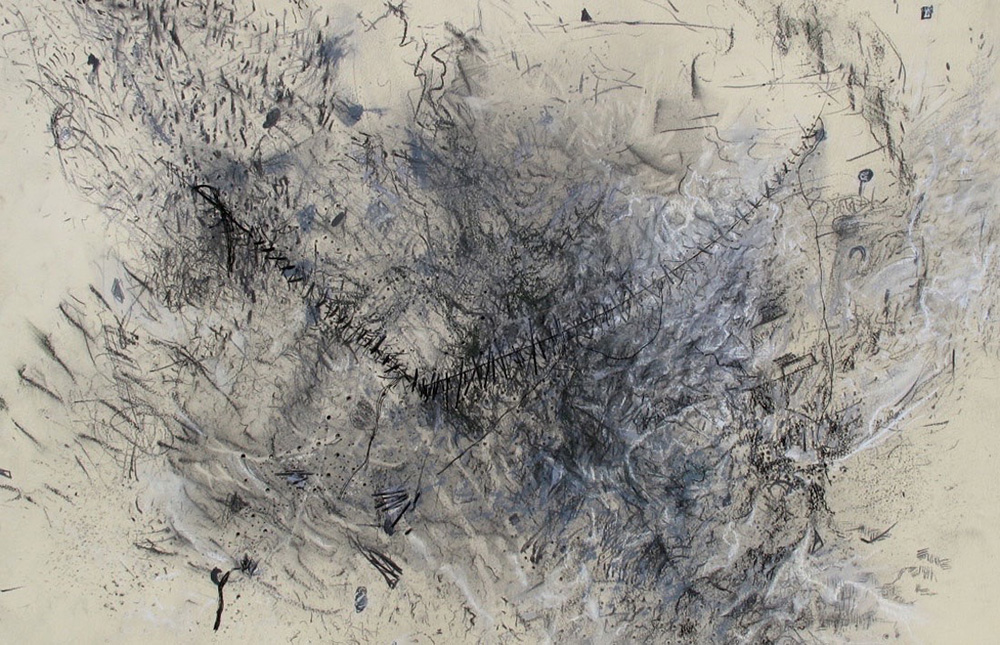 InFlight.GraphitePastelsCharcoalPuncturesThreadOnPaper.20x30inches2013