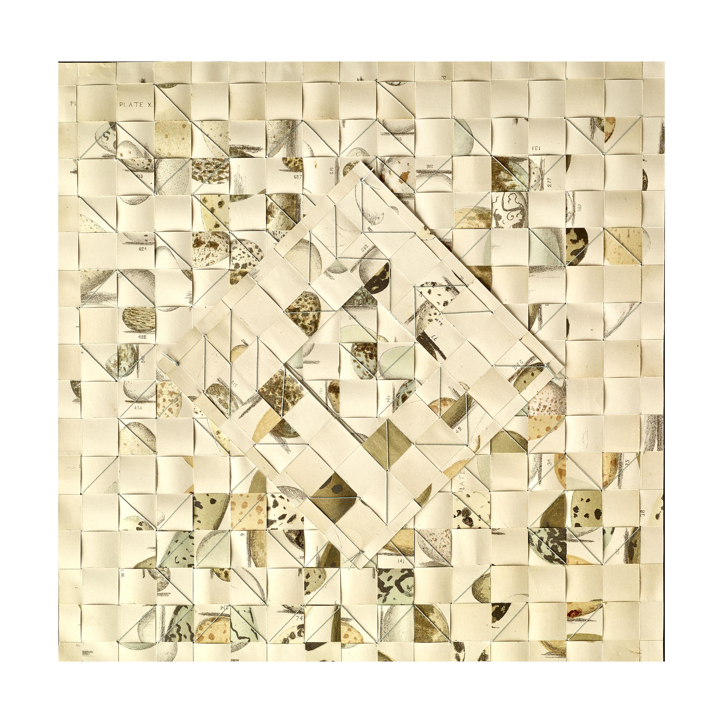 Kunstadt_ OVUM VII_Breakthrough_ silk thread, paper_ bookplates1890_12.325 x 12.325 in.