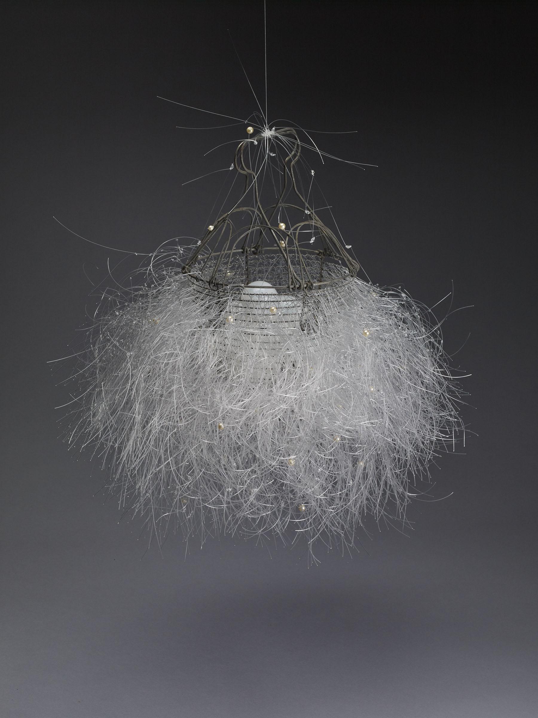 Kunstadt_C_Aphrodite'sPurse_vintage wire egg basket pearls monofilament swarovski crystal beads 25 x 20 x 20