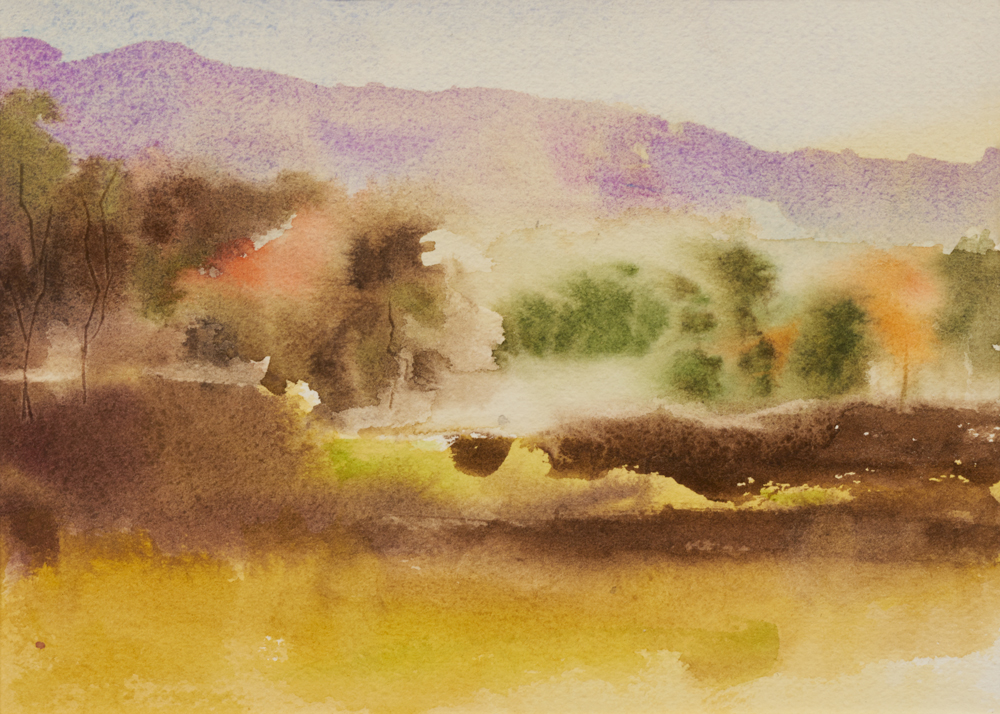 Mary Licause, Autumn Rising, watercolor, 5 x 7 in.