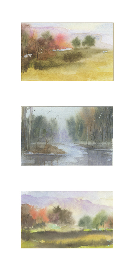 Mary Licause, Fall-Triptic, watercolors, 8 x 16 in.