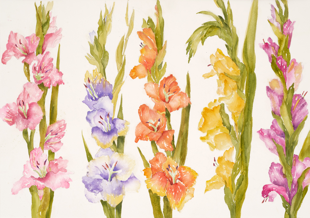 Mary Licause, Five In A Row watercolor, 14 x 20 in.