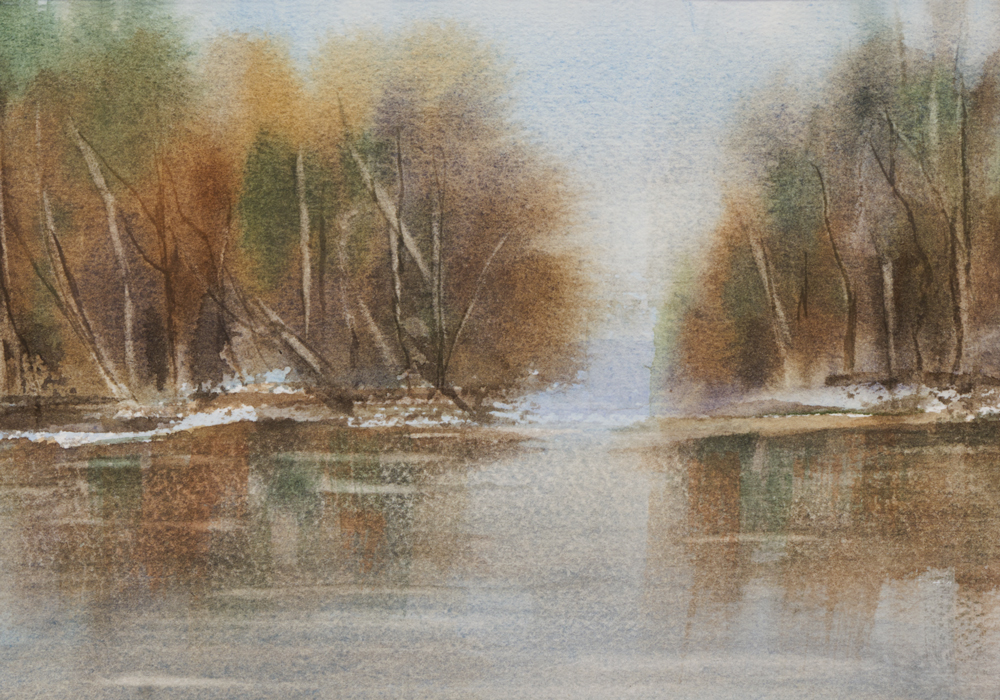 Mary Licause, Reflections, watercolor, 5 x 7 in.
