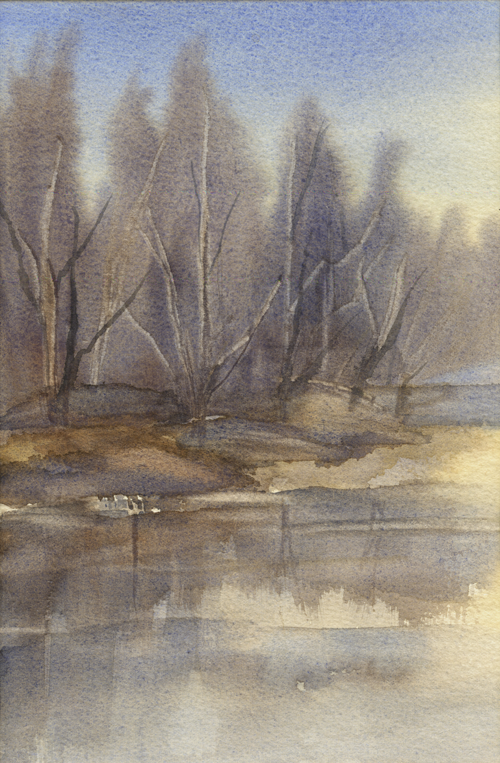 Mary Licause, Winter Refuge, watercolor, 6 x 9 in.