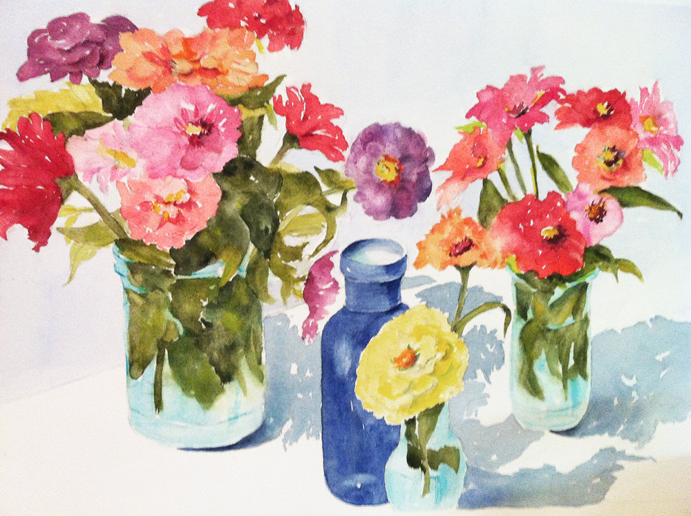 Mary Licause, Zinnias II, watercolor, 18 x 24 in.
