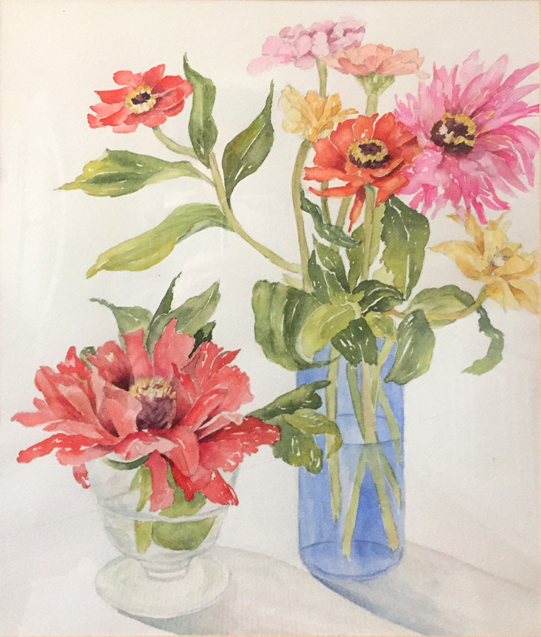 Mary Licause, Zinnias, watercolor, 24 x 18 in.