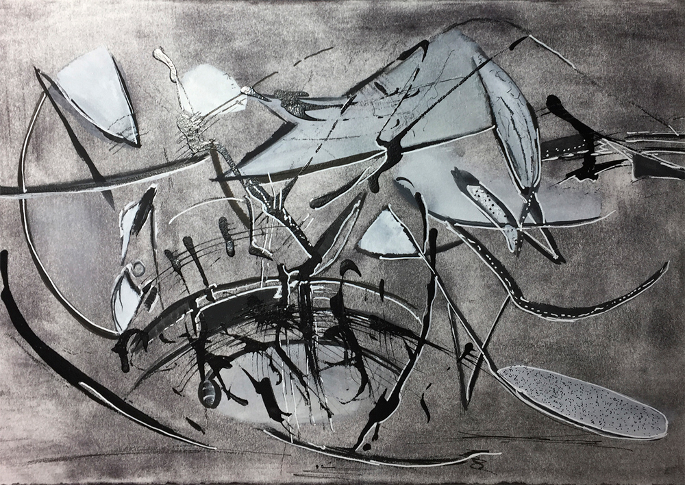 Mary Licause, untitled, pastels, ink, charcoal, 12 x 15 in.