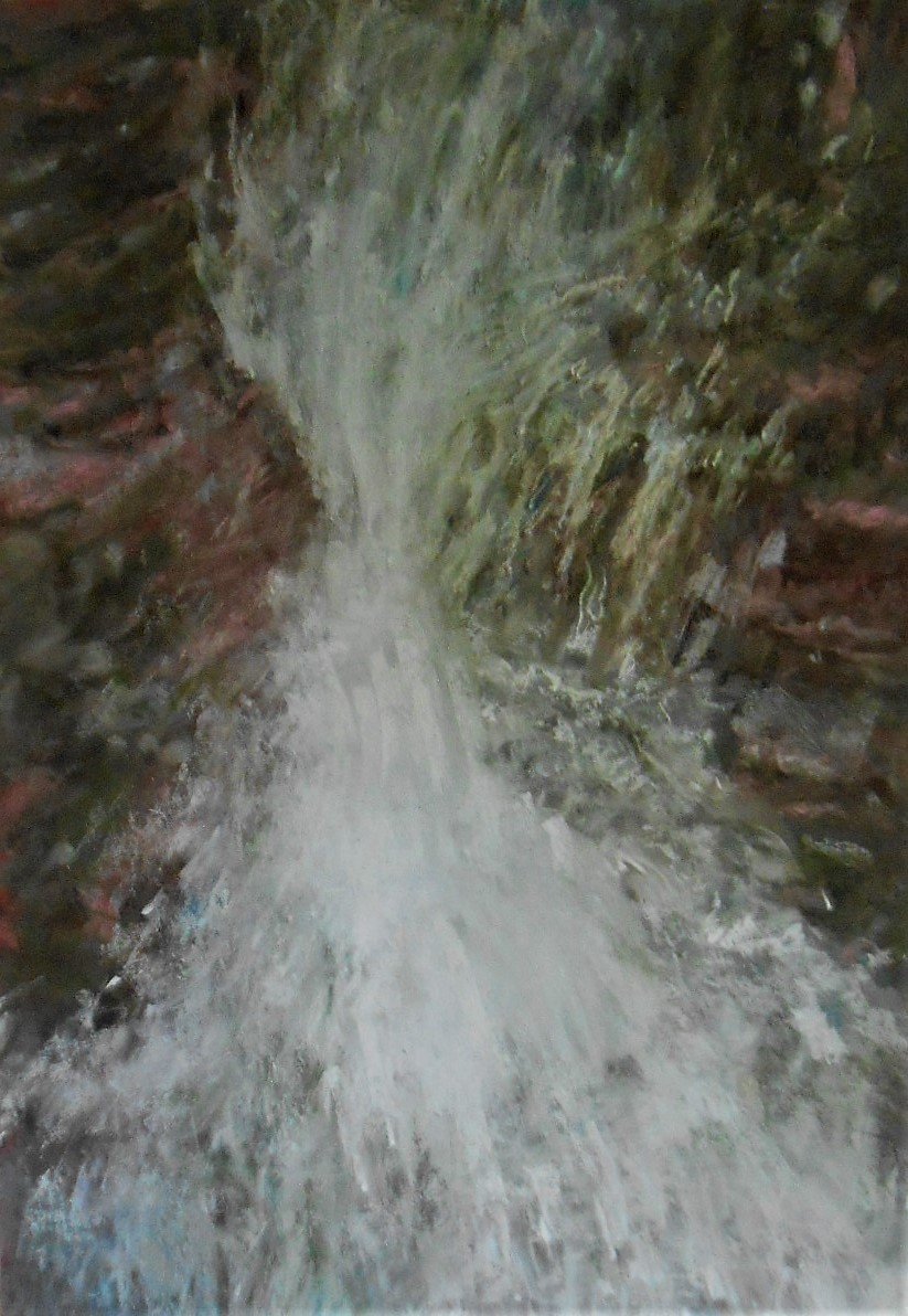 #1 gertrude abramson, waterfall, pastel,
