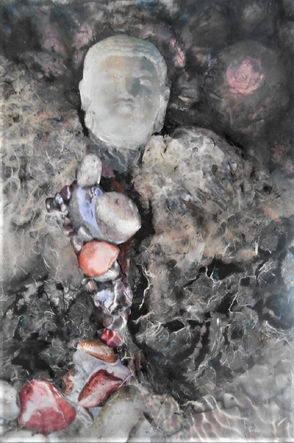 abramson, gertrude, buddha head, mixed media,18x26inches