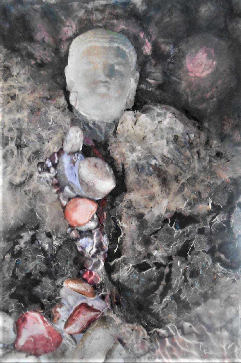 abramson, gertrude, buddha head, mixed media,18x26inches