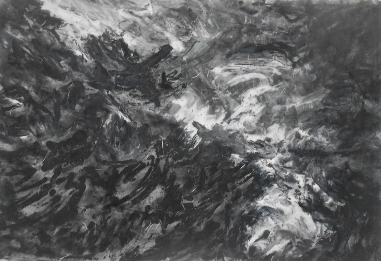 gertrude abramson, tumult waves, mixed media