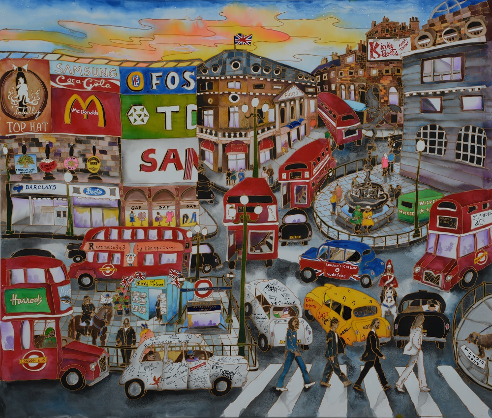 Piccadilly Circus - silk painting-01d976d7